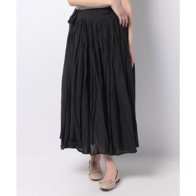 MARcourt 【MIDIUMISOLID】tuck flare skirt(BLACK)【返品不可商品】