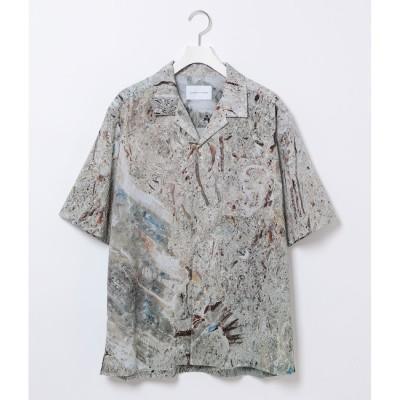 【アダム エ ロペ/ADAM ET ROPE'】 ネイチャー総柄 ドレープ オープンカラーシャツ