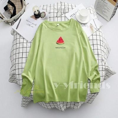 Tシャツ レディース 長袖Tシャツ 無地 トップス プルオーバー 大きいサイズ シンプル プリント 上着 クルーネック お出かけ カジュアル ゆったり 長袖 秋 人気