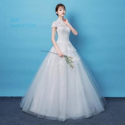 花嫁 挙式 発表会 二次会 おしゃれ パーティードレス 前撮り ウェティグドレス ロングドレス 結婚式 安い 大きいサイズAラインドレス