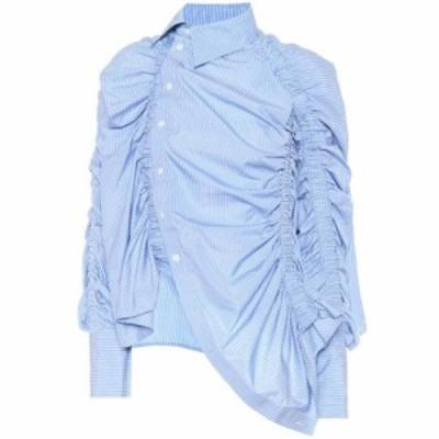 ロック Rokh レディース ブラウス・シャツ トップス striped cotton shirt White Blue