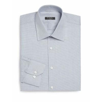 サックスフィフスアベニュー メンズ ドレスシャツ ワイシャツ Regular-Fit Textured Cotton Dress Shirt