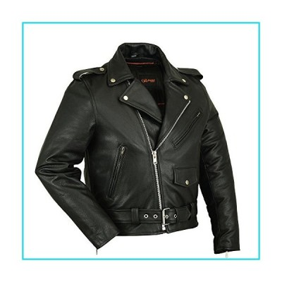DS730 Men's Classic Plain Side Police Style M/C Jacket - Motorcycle Jacket (M, Black)【並行輸入品】