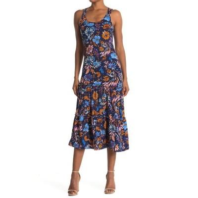 ベルベットトーチ レディース ワンピース トップス Printed Tiered Sleeveless Midi Dress NAVY FLORAL