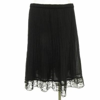 【中古】ノコオーノ Noko Ohno プリーツスカート 裾レース  ペチスカート付き 黒 ブラック レディース