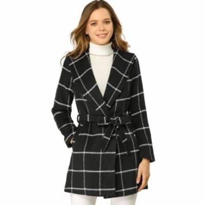 Allegra K チェック柄コート ラップコート アウター ショールカラー ベルト付き 冬 レディース ブラック XS