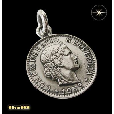 本物のスイスのコインペンダント(2) メイン ヨーロッパ コイン 硬貨 ペンダント ネックレス