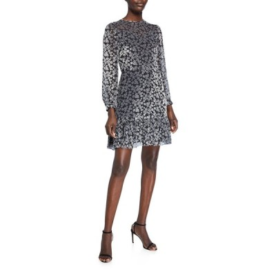 ショシャーナ レディース ワンピース トップス Lenette Valley Floral Burnout Velvet Long-Sleeve Ruffle-Hem Dress
