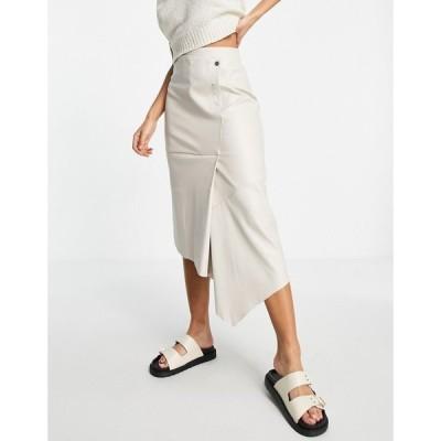 トップショップ Topshop レディース ひざ丈スカート スカート popper PU midi skirts in white ホワイト