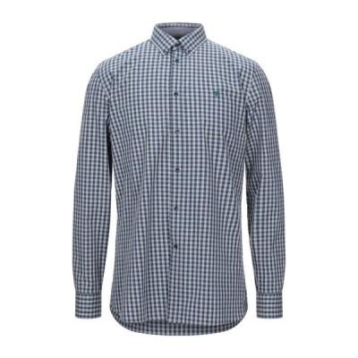 TRUSSARDI JEANS チェック柄シャツ  メンズファッション  トップス  シャツ、カジュアルシャツ  長袖 ブルー