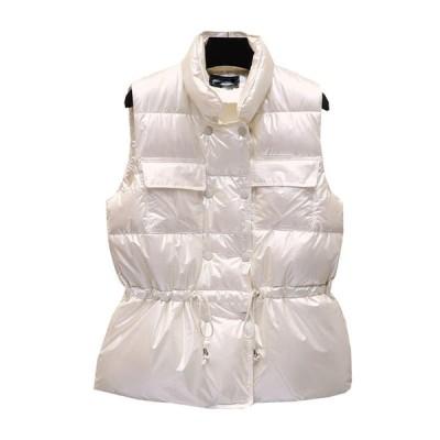 中綿ベスト 秋冬春 レディース ベスト ダウンコットン 立ち襟 防寒対策 暖か 光沢感 トップス 無袖 中綿入りジャケット