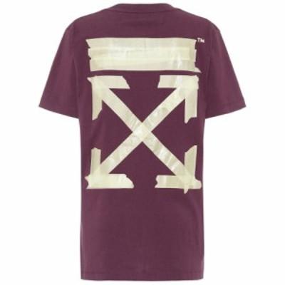 オフホワイト Off-White レディース Tシャツ トップス oversized printed cotton t-shirt Purple Beige