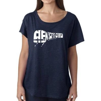 エルエーポップアート Tシャツ トップス レディース Loose Fit Dolman Cut Word Art T-Shirt - New York Subway  Navy
