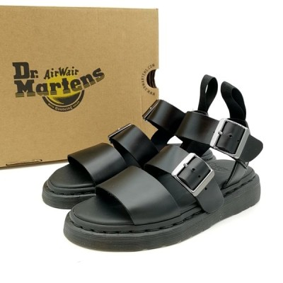 送料無料 美品 ドクターマーチン サンダル 靴 シューズ ショアーグリフォン ストラップサンダル レザー UK 3 22cm相当 黒系 レディース