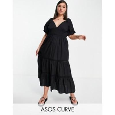 エイソス レディース ワンピース トップス ASOS DESIGN Curve shirred waist lace insert maxi dress in black Black
