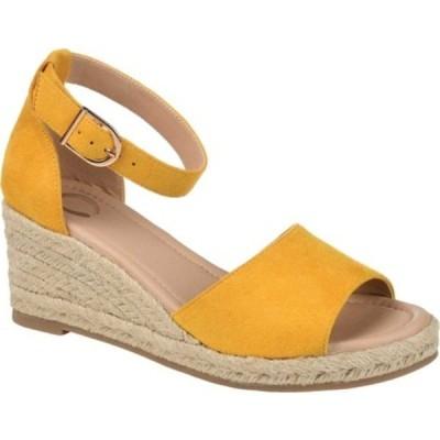 ジャーニーコレクション サンダル シューズ レディース Keana Ankle Strap Espadrille Wedge Sandal (Women's) Mustard Faux Suede