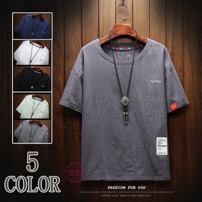 Tシャツ メンズ 半袖 無地 カットソー 五分袖Tシャツ カジュアル おしゃれ 大きいサイズ 新作 父の日