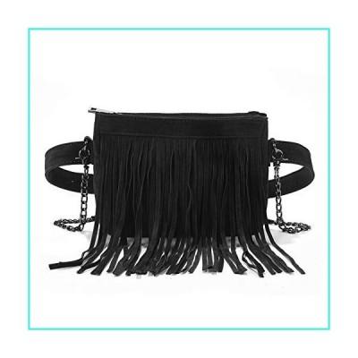 【新品】Fashion Fringe Tassel Fanny Pack Velvet Belt Crossbody Shoulder Bag Travel Purse for Women Black(並行輸入品)