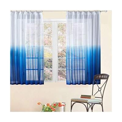 Topfinel レースカーテン 北欧風 UVカット(紫外線) 遮熱 グラデーション色 ブル 多彩 幅100x丈130cm 2枚組(全7サイズ5色)