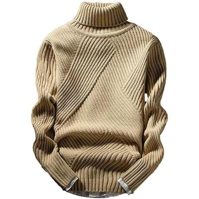 アスペルシオ ハイネック ニット セーター メンズ タートルネック トップス 長袖 ロングスリーブ ながそで 軽い(ベージュ, 2XL)