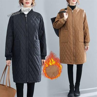 キルティングコート レディース長袖 大きいサイズ ゆったり ロング丈 大人カジュアル 中綿 ナチュラル 程よいゆとり 大きいサイズあり