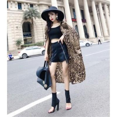 ミディアムロング ルーズ ファッション 薄セクション レオパード シフォン コート 女性