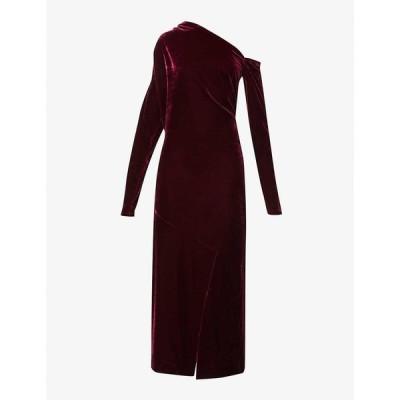 リース REISS レディース パーティードレス ワンピース・ドレス Bella asymmetric-neckline velvet dress BERRY