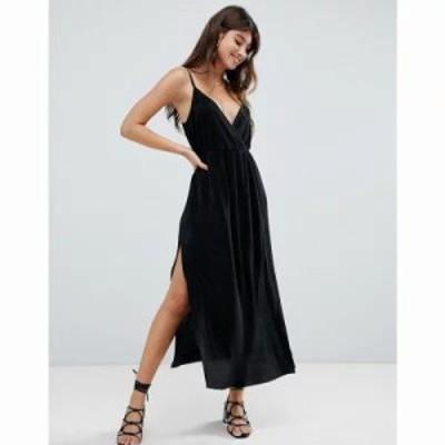 エイソス ワンピース cami wrap plisse maxi dress Black