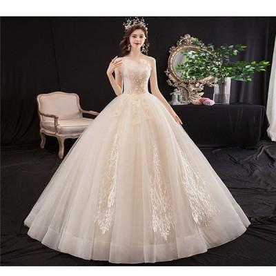 ウェディングドレス 白 フォーマルドレス 締上げタイプ Aライン 大きいサイズ ロングドレス トレーンドレス 結婚式 お嫁さん 撮影用