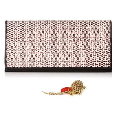 印伝 長財布 INDEN 小桜 印傳 財布 和装 札入れ ウォレット 日本製 ユニセックス (白地・赤漆)
