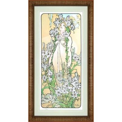 アルフォンス ミュシャ 絵画 リリー(百合)−四つの花 ジクレー 版画 額付き 新品 アールヌーボー ポスター 装飾 グッズ B4187