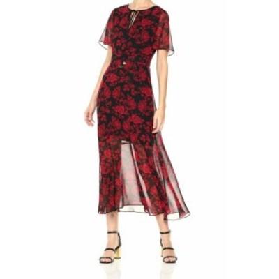 Sam Edelman サム エデルマン ファッション ドレス Sam Edelman NEW Red Black Womens Size 8 Rose Print Maxi Chiffon Dress