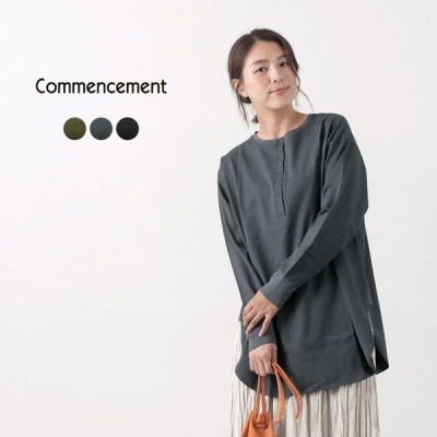 COMMENCEMENT(コメンスメント) ヘンリーネック チュニック ロングスリーブTシャツ / レディース / 長袖 / 無地 / 日本製