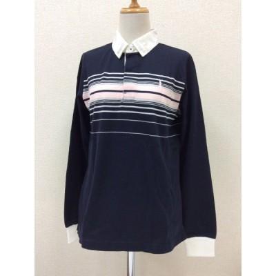 イーストボーイ 濃紺ポロシャツ 長袖 胸にピンク横縞