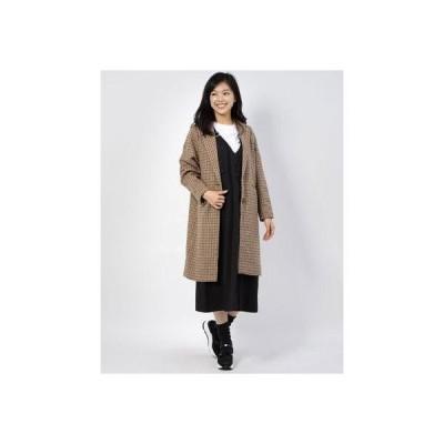 ジーラ GeeRA 【WEB限定】ウールライクチェックチェスターコート (ベージュ系)【Mサイズ】