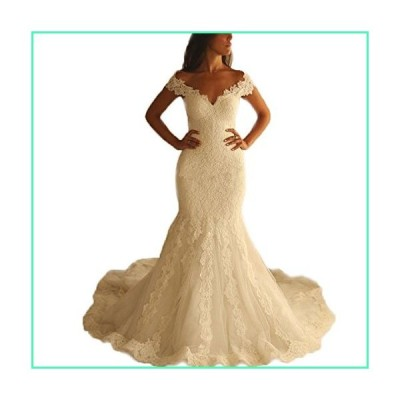 Kayle Sexy V-Neck Mermaid Wedding Dresses 2017 Cap Sleeve Lace Wedding Bride Gown Ivory並行輸入品