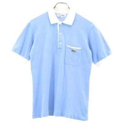ラコステ ワンポイント刺繍 胸ポケット付き 半袖 ポロシャツ 水色 LACOSTE 鹿の子 メンズ 古着 200626 メール便可