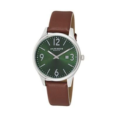 Akribos XXIV Men's AK869GN Round Green Dial Three Hand Quartz Stailess Steel Strap Watch 並行輸入品