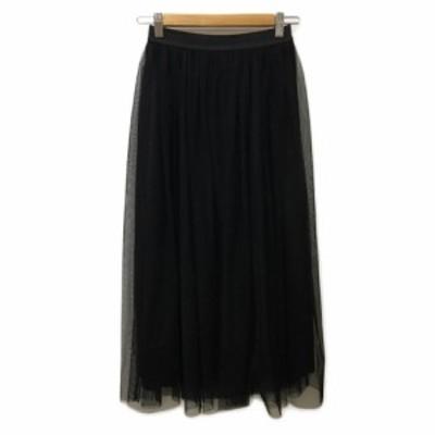 【中古】グローバルワーク スカート フレア ギャザー ロング チュール ウエストゴム 無地 M 黒 ブラック レディース