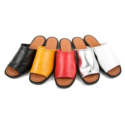 サンダル レディース フラット シルバー レッド ぺたんこ ペタンコ 黒 ブラック ホワイト 靴 婦人靴 シンプル