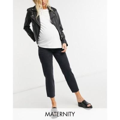 リバーアイランド River Island Maternity レディース ジーンズ・デニム ボトムス・パンツ Straight Leg Jeans In Black ブラック