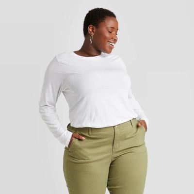 アヴァ&ヴィヴィ Ava & Viv レディース 長袖Tシャツ 大きいサイズ トップス Plus Size Long Sleeve T-Shirt - White