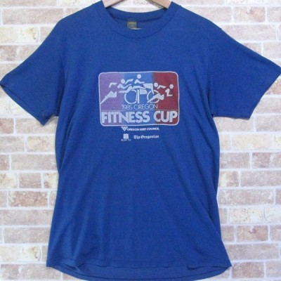 80年代 Tシャツ JerZees BY RUSSELL 1985 FITNESS CUP L 42-44 古着 ビンテージ/ヴィンテージ グレータグ ジャージーズ ラッセル アメリカ製