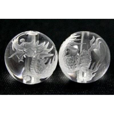 天然石 ビーズ【彫刻ビーズ】水晶 14mm (素彫り) 麒麟(きりん) パワーストーン