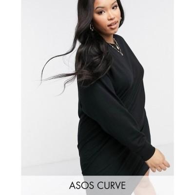 エイソス レディース ワンピース トップス ASOS DESIGN Curve seam detail sweatshirt dress in black