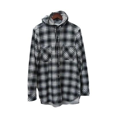 nonnative フード付きチェックシャツ HIKER HOODED SHIRT NN-S2803 ブラック×ホワイト×グレー サイズ:0 (高円寺