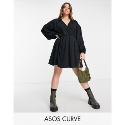 エイソス レディース ワンピース トップス ASOS DESIGN Curve mini wrap shirt dress in black