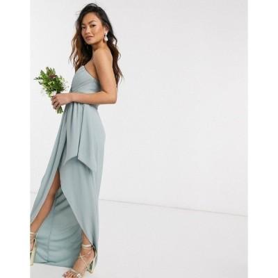 ティエフエヌシー レディース ワンピース トップス TFNC bridesmaid exclusive bandeau wrap midaxi dress with pleated detail in sage Sage