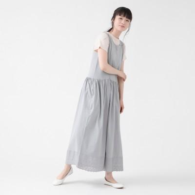 裾刺繍レース付き綿100%ノースリーブカットソーワンピース(プリュスボルメ/+borme)
