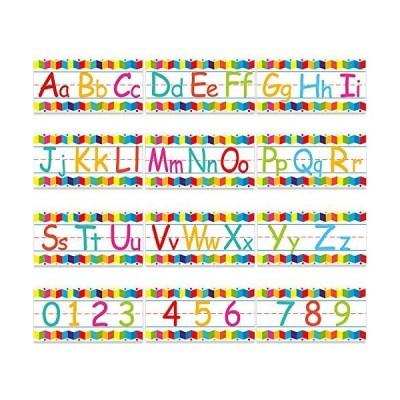 アルファベット掲示板ストリップセット アルファベット数字 壁 教室の装飾 数字09 と粘着ドット付き プレイルーム 寝室 保育園 装飾 12枚